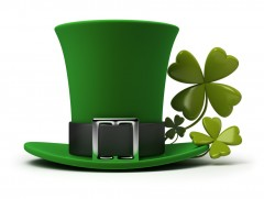 Irish hat and clovers