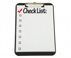 Beginning of a Checklist on a Clipboard