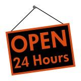 """Door Sign that says """"Open 24 Hours"""""""