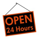 "Door Sign that says ""Open 24 Hours"""
