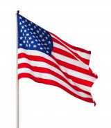 American Flag on a pole waiving in the wind