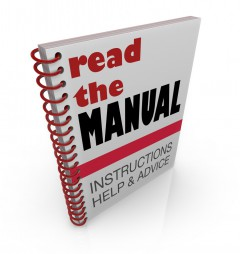 "Employee Manual with cover that says ""Read the Manual - Instructions, Help & Advice"""