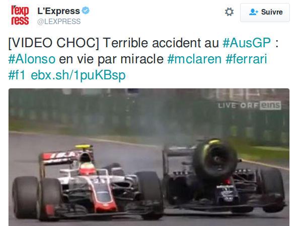 Capture d'écran du compte Twitter de l'Express