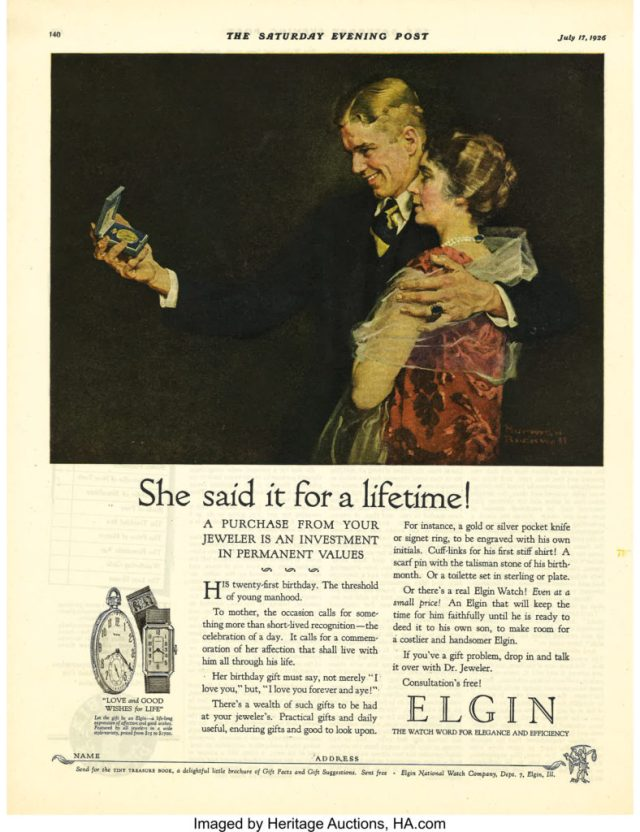 Norman Rockwell She Said It for a Lifetime (Man Receiving Gift Watch), Elgin Watches advertisement, 1926
