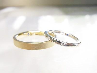 結婚指輪♥︎ゴールドマット&8ストーンダイヤ入り【神戸 元町】