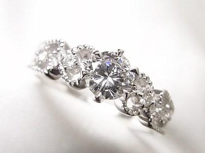 0.5ctUPダイヤモンドリングを♡モチーフのエレガントリングへリフォーム【神戸 元町】