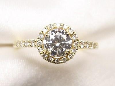 0.5ctUPのご婚約指輪をメレダイヤ取巻きキラキラリングへリフォーム【神戸 元町】