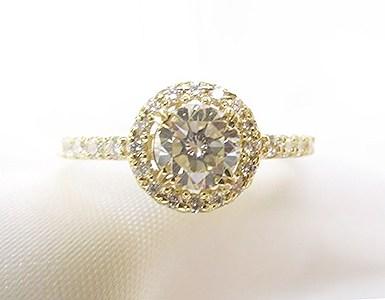 0.5ctUPダイヤモンドをメレダイヤ取巻きK18イエローゴールド製リングへリフォーム【神戸 元町】