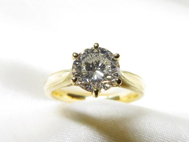 ご家族の1ctダイヤをK18製ミル打ちリングへリフォーム