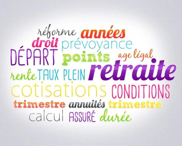 Nuages de mots clés retraite cotisations