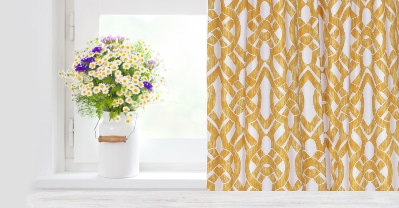 celtic gold cotton curtains