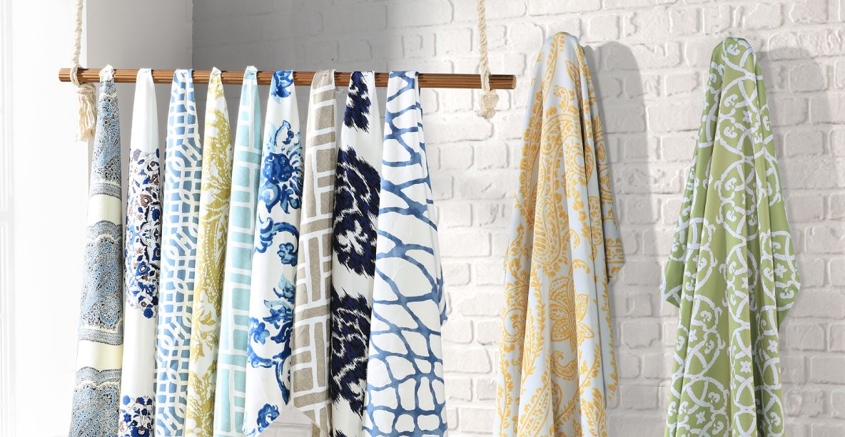 multiple patterned cotton curtains hanging