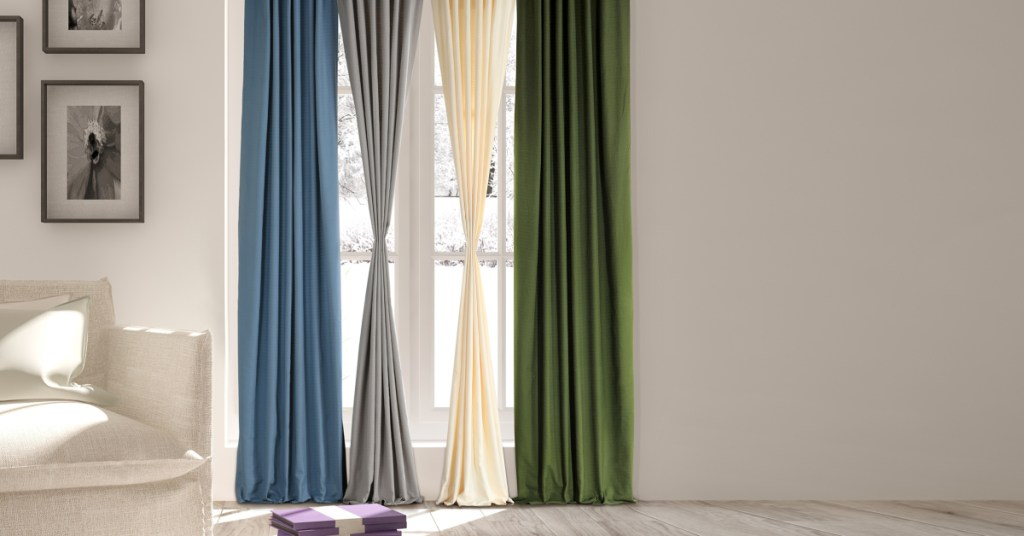 layered curtains in modern living room