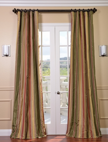 Let striped drapes anchor the design of an eclectic house