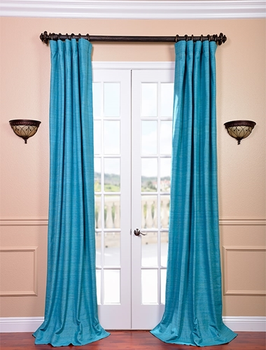 Make solid silk drapes work with pets