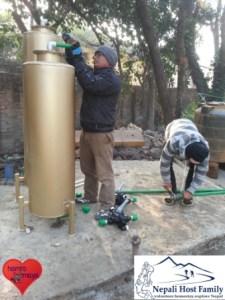 Arbeiten an der neuen Wasserfilteranlage.
