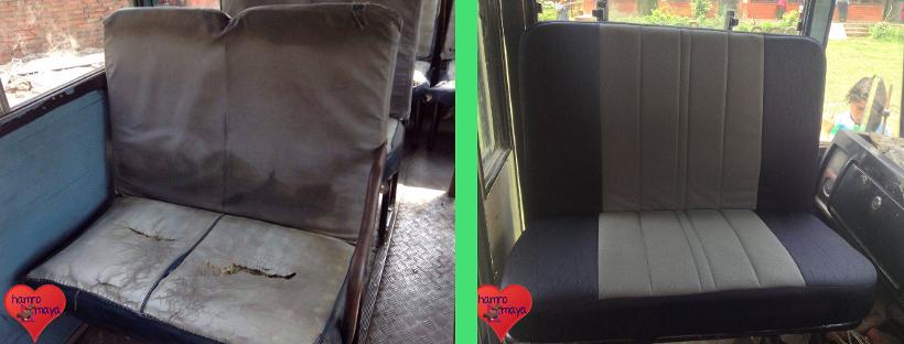Der Schulbus der Behindertenschule hat neue Sitze bekommen.