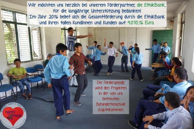 Die Förderspende der EthikBank kommt unserer Behindertenschule zugute.