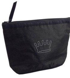 Black color silk bag with crown embroidery