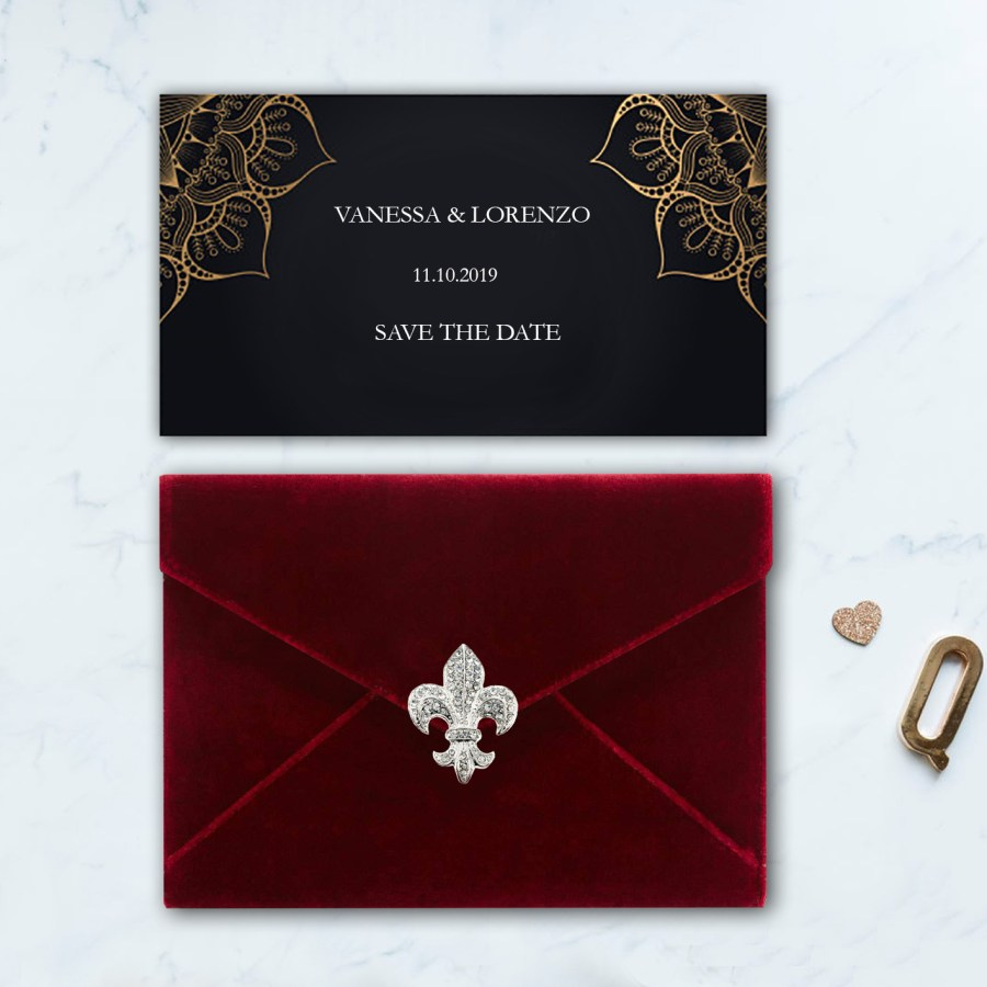red velvet envelope for wedding invitations