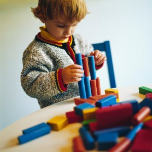 Boy Playing with Building Blocks