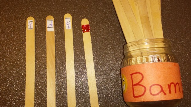 Bam! Is a fun and challenging handwriting game that can be made with popsicle sticks and a jar!