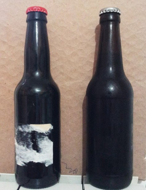 Botellas con etiqueta mal quitada y sin etiqueta