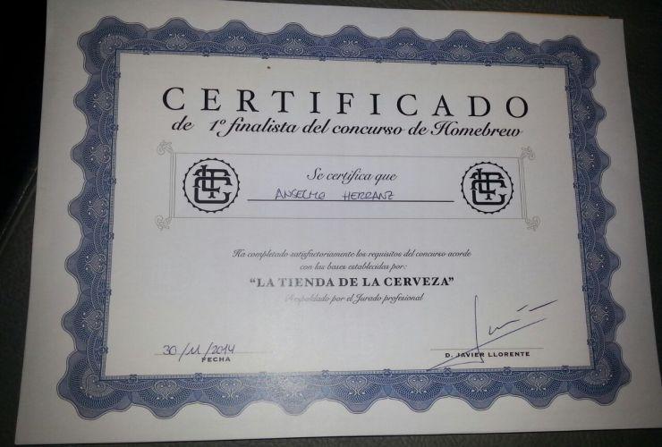 Diploma Primer Premio Blanche / Witbier