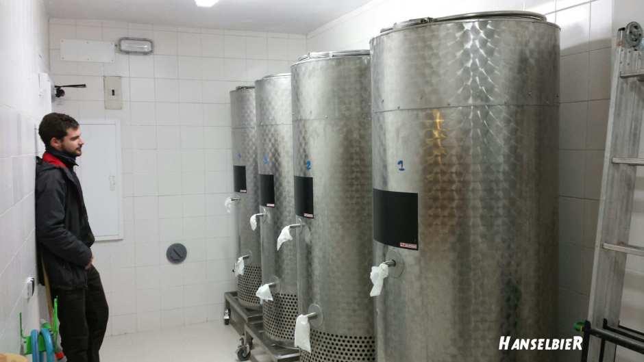 Eduardo y la Sala de fermentación y fermetadores de Cerveza Artesana Goose