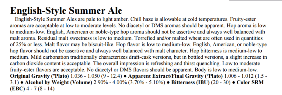 English Summer Ale - Brewers Association Beer Style Guidelines 2014