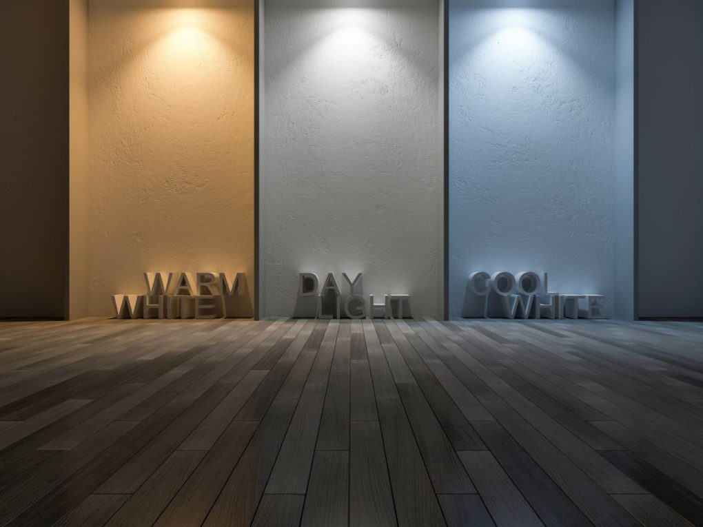 Rendering of different temperature light against a plain background with letters signifying the type of light