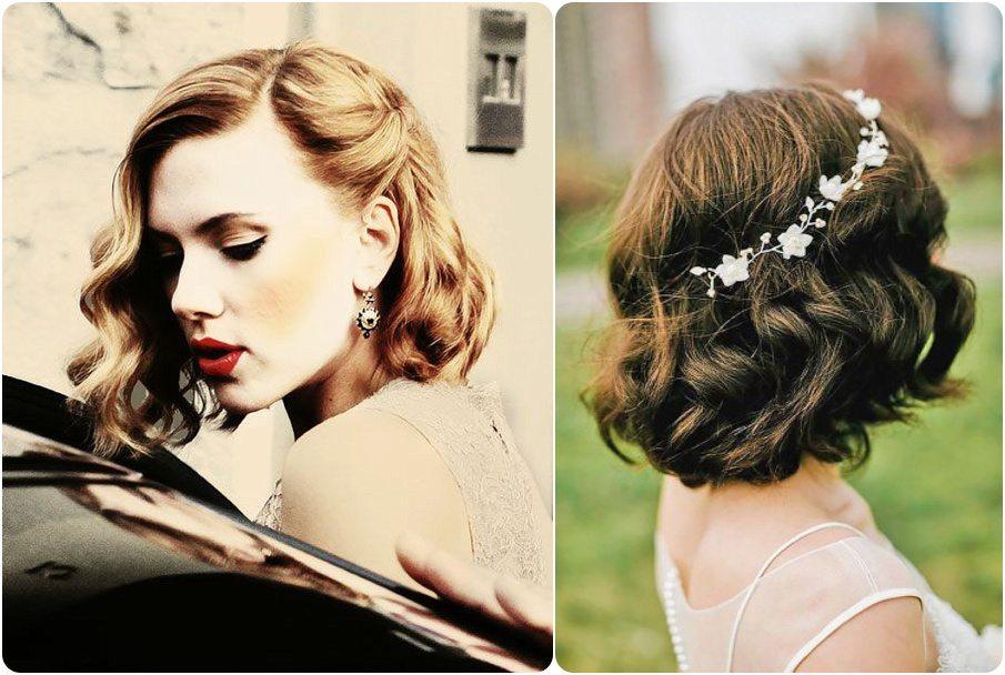 25 idées coiffures de mariée cheveux courts (carré) - Happy Chantilly