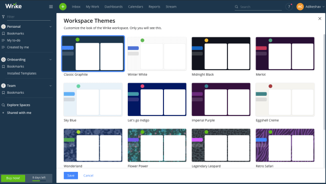 Workspace themes in Wrike