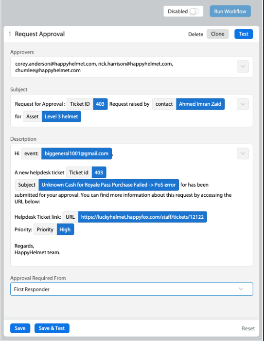 Approval Email Template Configuration