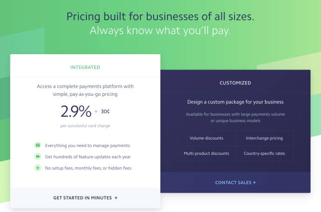 Stripe Pricing Page