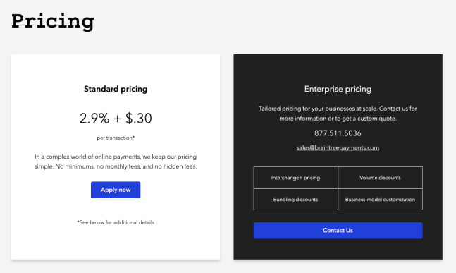 Braintree Pricing Page