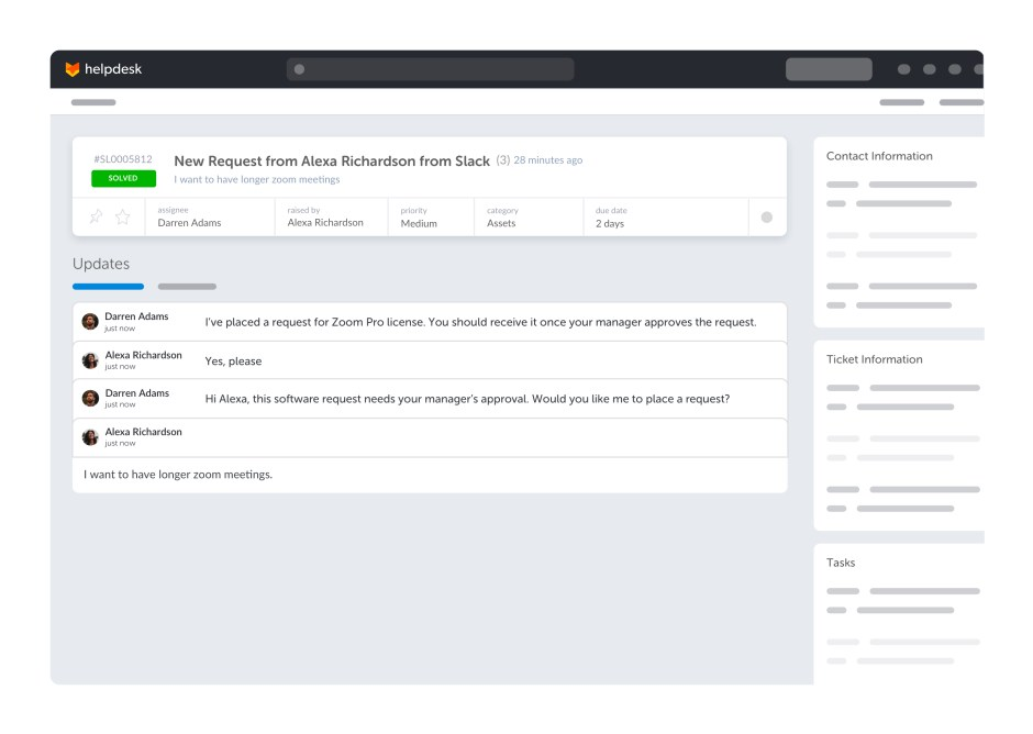 Assist AI stores all the tickets from Slack and the help desk in one place.