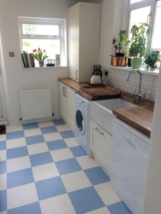 Karen's kitchen in Colours Collection Frosty Blue & Latte White