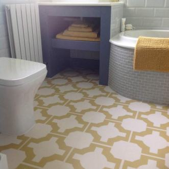 Lynne's bathroom in Parquet Mimosa by Neisha Crosland
