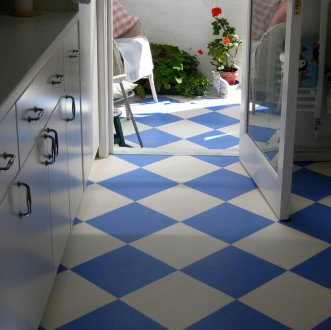 Blue and white flooring