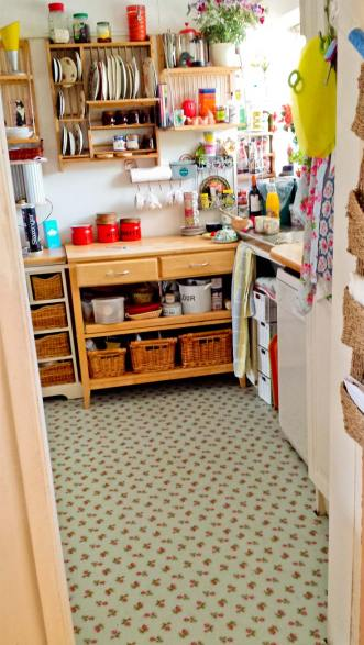 Linda's kitchen in Rose Sprig Blue by Cath Kidston