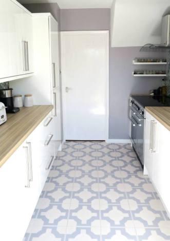 Steph's kitchen in Parquet Thistle Grey by Neisha Crosland