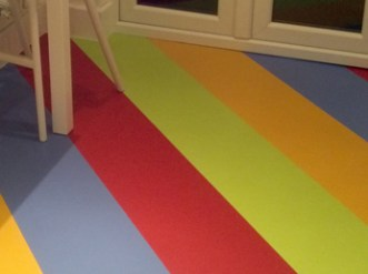 Lizz's kitchen in Colours Collection tiles laid in rainbow stripes