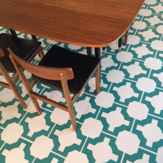 Samantha's kitchen in Parquet Turquoise by Neisha Crosland