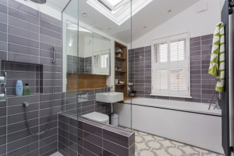 Ken's modern bathroom in Thistle Grey from our Parquet collection