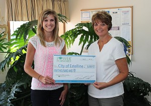 Ann Hyland presents an energy efficiency grant to Estelline Finance Officer Mary Saathoff.