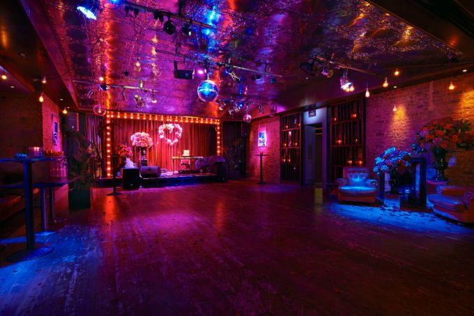 dim product launch room, century club