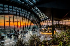 Sky Garden with sunset backdrop