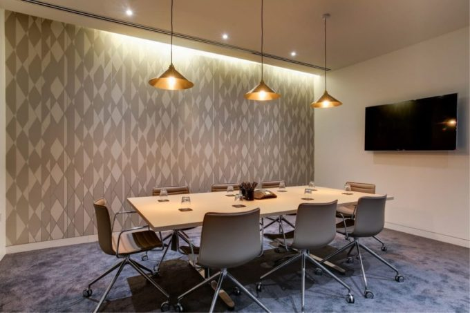 meeting room with grey wall