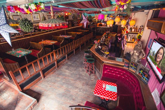cool party venue with bright decorations